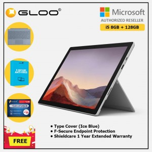Microsoft Surface Pro 7 Core i5/8G RAM - 128GB Platinum - VDV-00012 + Surface Pro Type Cover Ice Blue + Shield Care 1 Year + F-Secure 1 Year