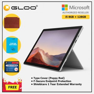 Microsoft Surface Pro 7 Core i5/8G RAM - 128GB Platinum - VDV-00012 + Surface Pro Type Cover Poppy Red + Shield Care 1 Year + F-Secure 1 Year