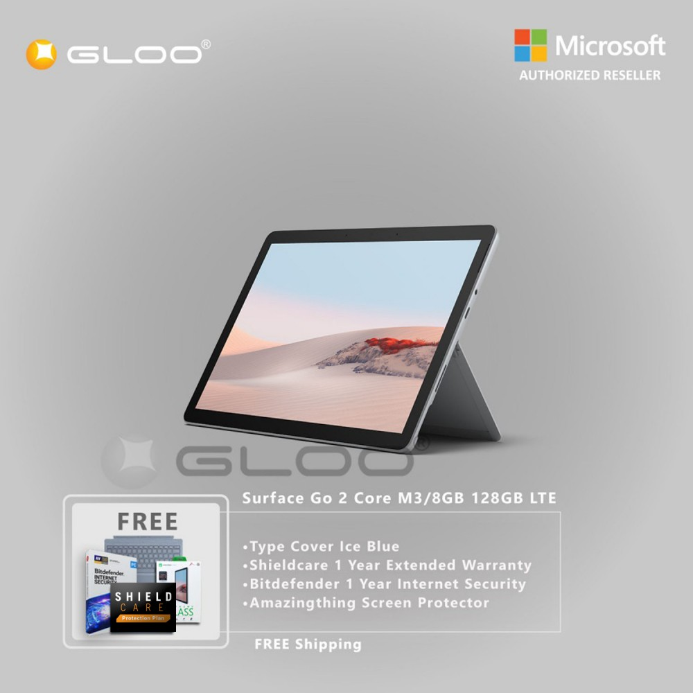 Microsoft Surface Go 2 Core M3/8GB 128GB LTE + Surface Go Type Cover Ice Blue + Shield Care 1 Year Extended Warranty+ Bitdefender 1 Year Internet Security+ Amazingthing Screen Protector