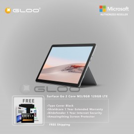 Microsoft Surface Go 2 Core M3/8GB 128GB LTE + Surface Go Type Cover Black + Shield Care 1 Year Extended Warranty+ Bitdefender 1 Year Internet Security+ Amazingthing Screen Protector