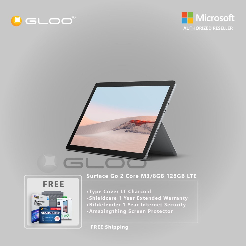 Microsoft Surface Go 2 Core M3/8GB 128GB LTE + Surface Go Type Cover LT Charcoal + Shield Care 1 Year Extended Warranty+ Bitdefender 1 Year Internet Security+ Amazingthing Screen Protector
