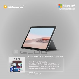 Microsoft Surface Go 2 Core M3/8GB 128GB LTE + Surface Go Type Cover Burgundy + Shield Care 1 Year Extended Warranty+ Bitdefender 1 Year Internet Security+ Amazingthing Screen Protector