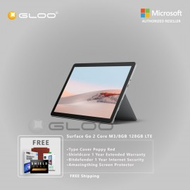 Microsoft Surface Go 2 Core M3/8GB 128GB LTE + Surface Go Type Cover Poppy Red + Shield Care 1 Year Extended Warranty+ Bitdefender 1 Year Internet Security+ Amazingthing Screen Protector