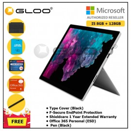 [Pre-Order, ETA : 18th March 2019]Microsoft Surface Pro 6 Core i5/8GB RAM -128GB + Type Cover Black + Shield Care 1 Year Extended Warranty + F-Secure End Point Protection + Pen Black + Office 365 Personal (ESD)