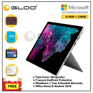Microsoft Surface Pro 6 i5/8GB 128GB Platinum + Surface Pro Type Cover Burgundy + Shield Care 1 Year + F-Secure 1 Year + Home & Student 2019 (ESD)
