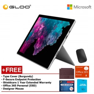 Microsoft Surface Pro 6 Core i5/8GB RAM - 256GB + Type Cover Burgundy + Office 365 Personal (ESD) + Shieldcare 1 Year Extended Warranty + F-Secure EndPoint Protection + Designer Mouse