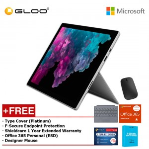 Microsoft Surface Pro 6 Core i5/8GB RAM - 256GB + Type Cover Platinum + Office 365 Personal (ESD) + Shieldcare 1 Year Extended Warranty + F-Secure EndPoint Protection + Designer Mouse