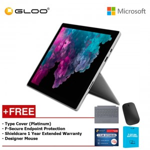 Microsoft Surface Pro 6 Core i5/8GB RAM - 256GB + Type Cover Platinum + Shieldcare 1 Year Extended Warranty + F-Secure EndPoint Protection + Designer Mouse