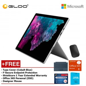 Microsoft Surface Pro 6 Core i5/8GB RAM - 256GB + Type Cover Cobalt Blue + Office 365 Personal (ESD) + Shieldcare 1 Year Extended Warranty + F-Secure EndPoint Protection + Designer Mouse
