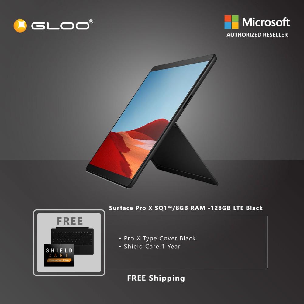 Microsoft Surface Pro X SQ1™/8GB RAM -128GB LTE Black + Pro X TC Black + Shield Care 1 Year + F-Secure 1 Year