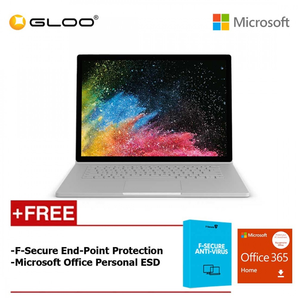 """Surface Book 2 13"""" i7/8GB 256GB +  F secure End Point Protection + Office 365 Home"""