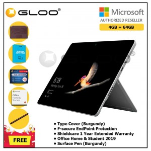 Microsoft Surface Go Y/4GB 64GB + Surface Go Type Cover Burgundy + Shield Care 1 Year + F-Secure 1 Year  + Home & Student 2019 (ESD) + Pen Burgundy