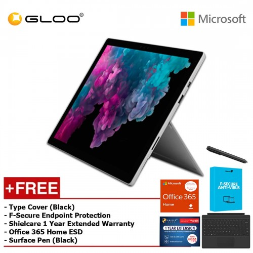 [Pre-Order, ETA : 18th March 2019]Microsoft Surface Pro 6 Core i5/8GB RAM -128GB + Type Cover Black + 365 Home + Pen Black + Fsecure + 1Yr Ext Wty