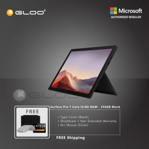 Microsoft Surface Pro 7 Core i5/8G RAM - 256GB Black - PUV-00025 + Surface Pro Type Cover Black + Shield Care 1 Year + Arc Mouse Silver