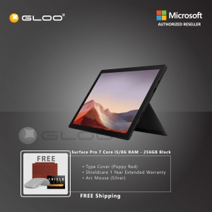 Microsoft Surface Pro 7 Core i5/8G RAM - 256GB Black - PUV-00025 + Surface Pro Type Cover Poppy Red + Shield Care 1 Year + Arc Mouse Silver