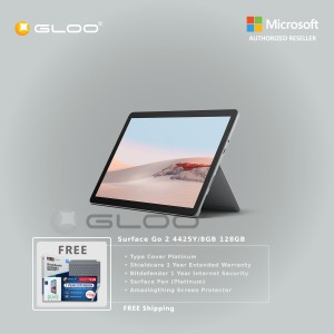 Microsoft Surface Go 2 4425Y/8GB 128GB + Surface Go Type Cover Platinum + Shield Care 1 Year Extended Warranty + Bitdenfender 1 Year Internet Security + Pen Platinium + Amazingthing Screen Protector