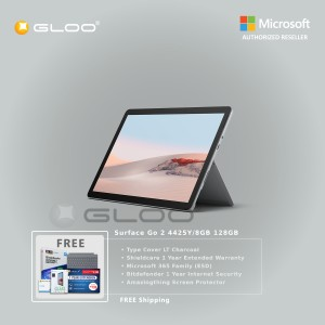 Microsoft Surface Go 2 4425Y/8GB 128GB + Surface Go Type Cover LT Charcoal + Shield Care 1 Year Extended Warranty + Bitdenfender 1 Year Internet Security + Microsoft 365 Family (ESD) + Amazingthing Screen Protector