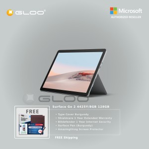 Microsoft Surface Go 2 4425Y/8GB 128GB + Surface Go Type Cover Burgundy + Shield Care 1 Year Extended Warranty + Bitdenfender 1 Year Internet Security + Pen Burgundy + Amazingthing Screen Protector