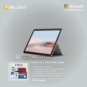 Microsoft Surface Go 2 4425Y/8GB 128GB + Surface Go Type Cover Poppy Red + Shield Care 1 Year Extended Warranty + Bitdenfender 1 Year Internet Security + Microsoft 365 Family (ESD) + Amazingthing Screen Protector