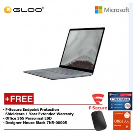 Microsoft Surface Laptop 2 Core i5/8GB RAM - 128GB + Shield Care 1 Year Extended Warranty + F-Secure End Point Protection + Office 365 Personal (ESD) + Designer Mouse Black