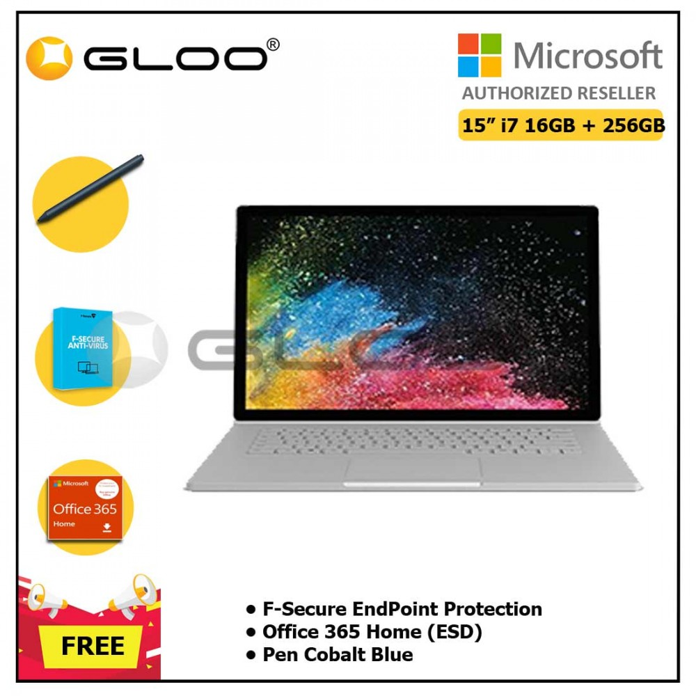 """Microsoft Surface Book 2 15"""" i7/16GB 256GB + F-Secure EndPoint Protection + Office 365 Home ESD + Pen Cobalt Blue"""