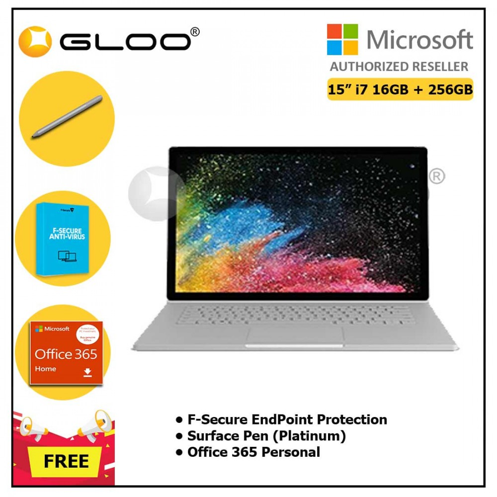 """Microsoft Surface Book 2 15"""" i7/16GB 256GB + F-Secure EndPoint Protection + Office 365 Home ESD + Pen Platinum"""