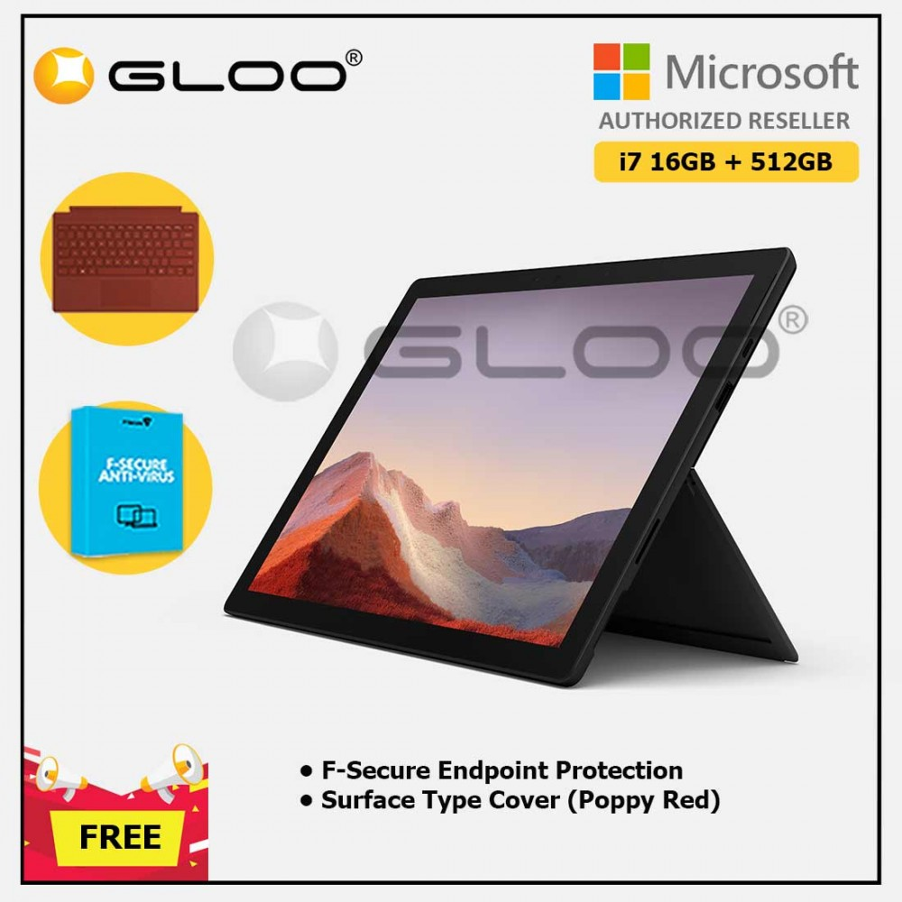 Microsoft Surface Pro 7 Core i7/16G RAM - 512GB Black - VAT-00025 + Surface Pro Type Cover Poppy Red + F-Secure Endpoint Protection