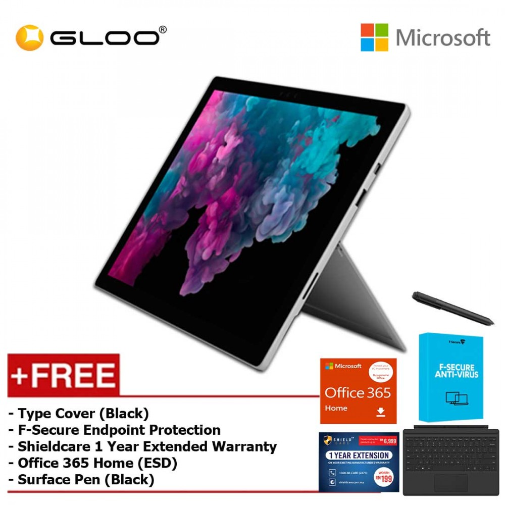 Microsoft Surface Pro 6 Core i5/8GB RAM - 256GB + Type Cover Black + Office 365 Home + Pen Black + Fsecure + Shieldcare 1 Year Extended Warranty