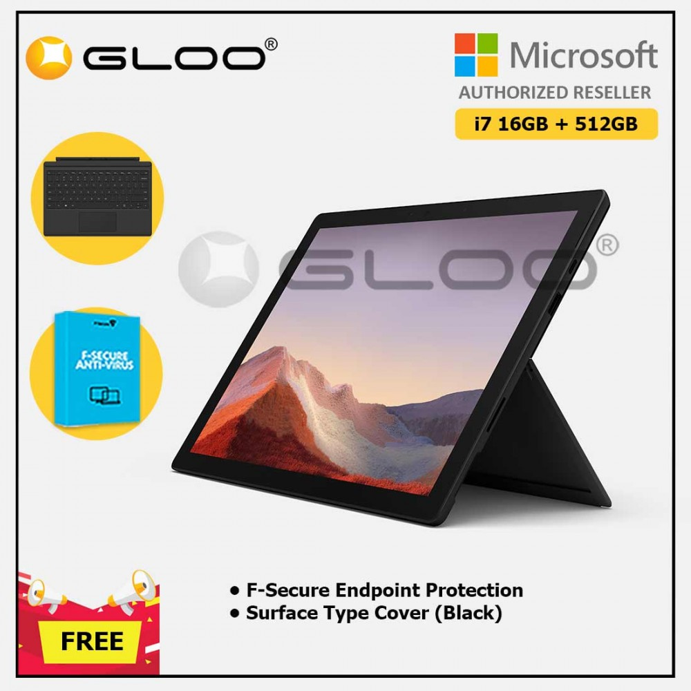 Microsoft Surface Pro 7 Core i7/16G RAM - 512GB Black - VAT-00025 + Surface Pro Type Cover Black + F-Secure Endpoint Protection