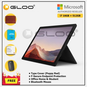 [Pre-order, ETA 9.12] Microsoft Surface Pro 7 Core i7/16G RAM - 512GB Black - VAT-00025 + Surface Pro Type Cover Poppy Red + F-Secure 1 Year + Office Home & Student (ESD) + Mobile Mouse Bluetooth Black