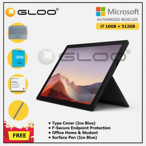 [Pre-order, ETA 9.12] Microsoft Surface Pro 7 Core i7/16G RAM - 512GB Black - VAT-00025 + Surface Pro Type Cover Ice Blue + F-Secure 1 Year + Office Home & Student (ESD) + Surface Pen Ice Blue