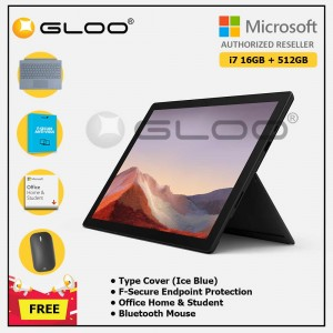 [Pre-order, ETA 9.12] Microsoft Surface Pro 7 Core i7/16G RAM - 512GB Black - VAT-00025 + Surface Pro Type Cover Ice Blue + F-Secure 1 Year + Office Home & Student (ESD) + Mobile Mouse Bluetooth Black