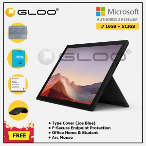 [Pre-order, ETA 9.12] Microsoft Surface Pro 7 Core i7/16G RAM - 512GB Black - VAT-00025 + Surface Pro Type Cover Ice Blue + F-Secure Endpoint Protection + Office Home & Student (ESD) + Arc Mouse Black