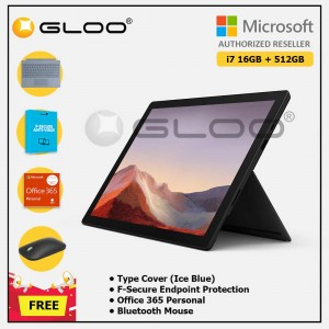 [Pre-order, ETA 9.12] Microsoft Surface Pro 7 Core i7/16G RAM - 512GB Black - VAT-00025 + Surface Pro Type Cover Ice Blue + F-Secure 1 Year + Office 365 Personal (ESD) + Mobile Mouse Bluetooth Black