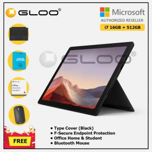 [Pre-order, ETA 9.12] Microsoft Surface Pro 7 Core i7/16G RAM - 512GB Black - VAT-00025 + Surface Pro Type Cover Black + F-Secure 1 Year + Office Home & Student (ESD) + Mobile Mouse Bluetooth Black