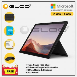 [Pre-order, ETA 9.12] Microsoft Surface Pro 7 Core i7/16G RAM - 512GB Black - VAT-00025 + Surface Pro Type Cover Black + F-Secure 1 Year + Office Home & Student (ESD) + Arc Mouse Black