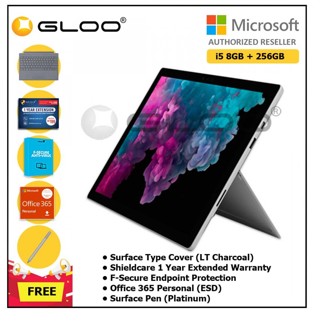 Microsoft Surface Pro 6 i5/8GB 256GB Platinum + Surface Pro Type Cover LT Charcoal + Shieldcare 1 Year Extended Warranty + F-Secure Endpoint Protection + Office 365 Personal (ESD) + Surface Pen Platinum