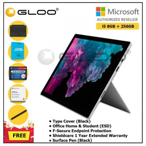Microsoft Surface Pro 6 i5/8GB 256GB Platinum + Surface Pro Type Cover Black + Shield Care 1 Year + F-Secure 1 Year  + Office Home & Student 2019 (ESD) + Surface Pen Black