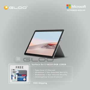 Microsoft Surface Go 2 4425Y/8GB 128GB + Surface Go Type Cover LT Charcoal + Shield Care 1 Year Extended Warranty + Bitdenfender 1 Year Internet Security + Amazingthing Screen Protector