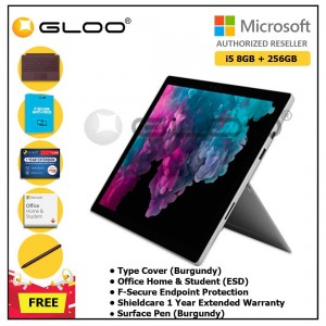 Microsoft Surface Pro 6 i5/8GB 256GB Platinum + Surface Pro Type Cover Burgundy + Shield Care 1 Year + F-Secure 1 Year  + Office Home & Student 2019 (ESD) + Surface Pen Burgundy