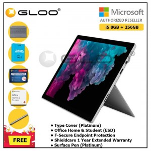 Microsoft Surface Pro 6 i5/8GB 256GB Platinum + Surface Pro Type Cover Platinum + Shield Care 1 Year + F-Secure 1 Year  + Office Home & Student 2019 (ESD) + Surface Pen Platinum