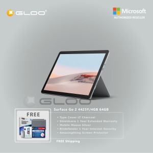 Microsoft Surface Go 2 4425Y/4GB 64GB + Surface Go Type Cover LT Charcoal + Shield Care 1 Year Extended Warranty + Bitdenfender 1 Year Internet Security + Mobile Mouse Silver + Amazingthing Screen Protector