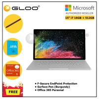 "Surface Book 2 15"" Core i7/16GB RAM - 512GB [FREE F-Secure End Point Protection + Off 365 Personal + Microsoft Surface Pen Burgundy]"