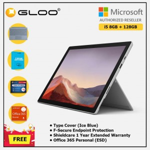 Microsoft Surface Pro 7 Core i5/8G RAM - 128GB Platinum - VDV-00012 + Surface Pro Type Cover Ice Blue + Shield Care 1 Year + F-Secure 1 Year + Office 365 Personal (ESD)