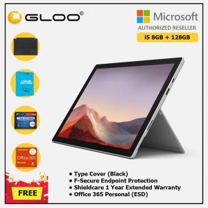 Microsoft Surface Pro 7 Core i5/8G RAM - 128GB Platinum - VDV-00012 + Surface Pro Type Cover Black + Shield Care 1 Year + F-Secure 1 Year + 365 P (ESD)