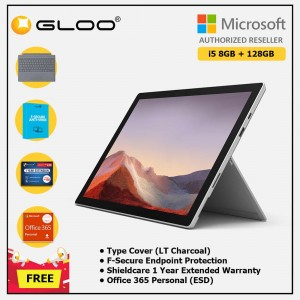 Microsoft Surface Pro 7 Core i5/8G RAM - 128GB Platinum - VDV-00012 + Surface Pro Type Cover LT Charcoal + Shield Care 1 Year + F-Secure 1 Year + Office 365 Personal (ESD)