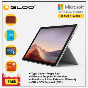 Microsoft Surface Pro 7 Core i5/8G RAM - 128GB Platinum - VDV-00012 + Surface Pro Type Cover Poppy Red + Shield Care 1 Year + F-Secure 1 Year + Office 365 Personal (ESD)
