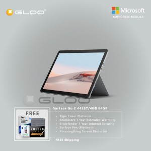 Microsoft Surface Go 2 4425Y/4GB 64GB + Surface Go Type Cover Platinum + Shield Care 1 Year Extended Warranty + Bitdenfender 1 Year Internet Security + Pen Platinium + Amazingthing Screen Protector