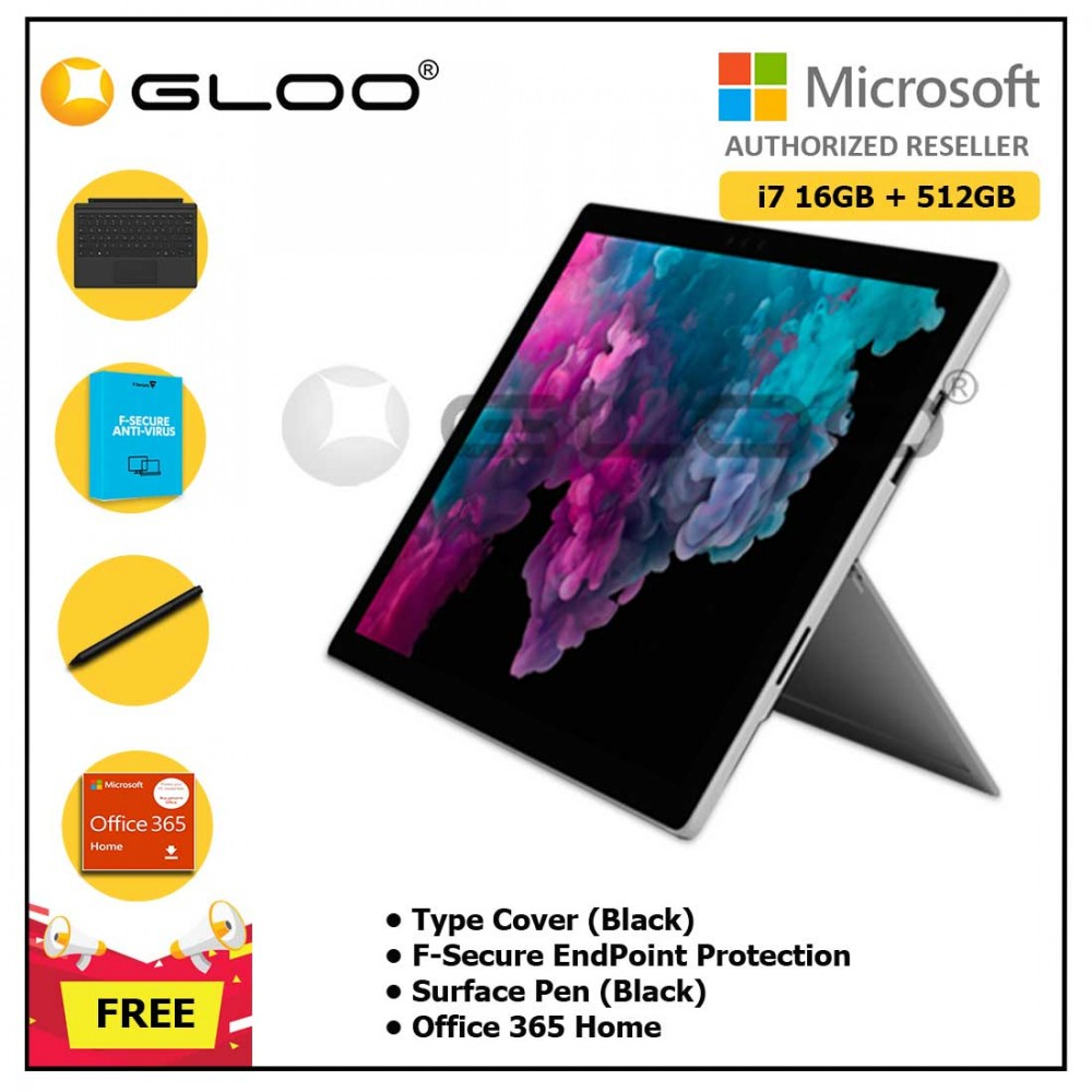 Microsoft Surface Pro 6 Core i7/16GB RAM - 512GB + Type Cover Black + 365 Home + Pen Black + Fsecure + 1Yr Ext Wty