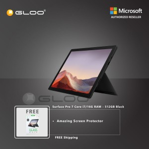 Microsoft Surface Pro 7 Core i7/16G RAM - 512GB Black - VAT-00025 + Amazingthing Screen Protector
